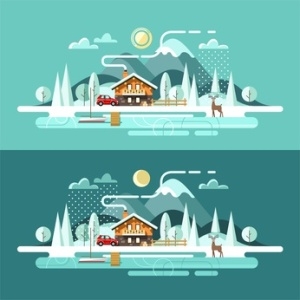 Nature. Winter landscape. Vector illustration in flat design style.