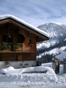 Typical wooden alpine lodge
