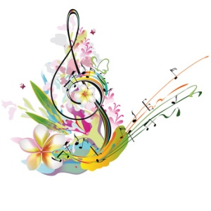 Musical treble clef with notes, flower splashes. Summer music.