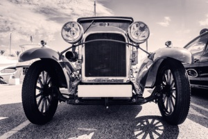Front view of classic car. Old style. Black and white.