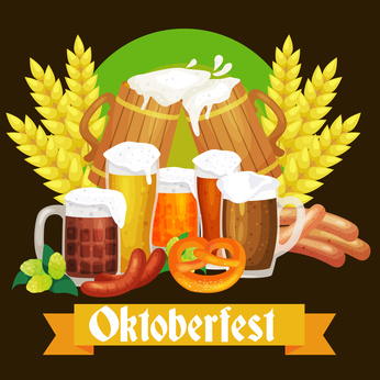 germany beer festival oktoberfest, bavarian beer in glass mug, traditional party celebration, vector illustration