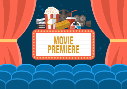 Movie premiere poster deisgn with cinema curtains, seats and sig