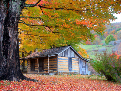 Cabin in Mountains Fall Colors