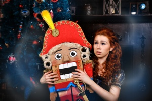 Beauty fashion woman with nutcracker