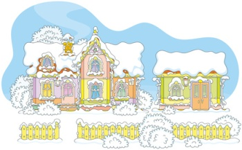 Colorful snow-covered house of Santa Claus and his workshop at the North
