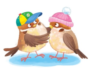 Cute sparrows in colorful hats. Greeting card for Valentine's Day. Funny cartoon charactres