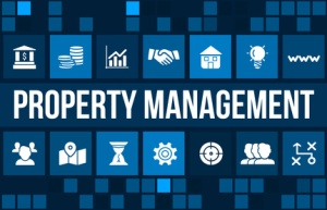 Property Management concept image with business icons and copyspace.