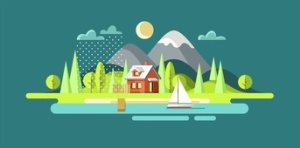 Nature. Outdoor. Summer landscape. Vector illustration in flat design style.