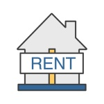 House for rent color icon