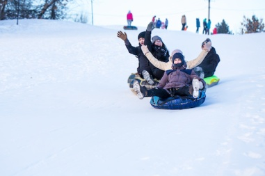Winter Activities Lake Arrowhead inner tubing