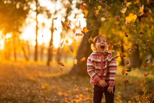 Girl in Fall Leaves Lake Arrowhead